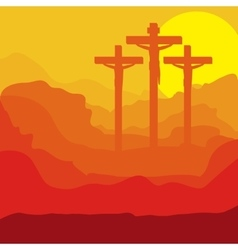 picture of sunset crucifix design vector image vector image