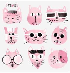 pink watercolour funny cat faces set vector image