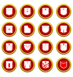 Pocket types icon red circle set vector