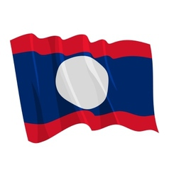 Political waving flag of laos vector