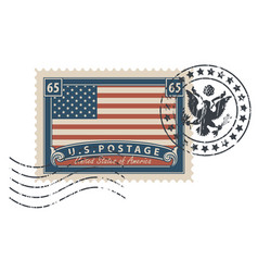 Postage stamp with the image of the american flag vector