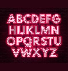 Red-white neon alphabet on a dark background vector