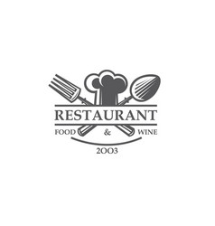Restaurant label with chef hat crossed spoon vector