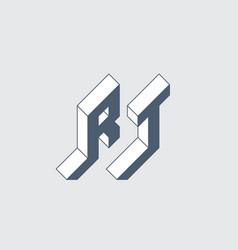 Rt - monogram or logotype isometric 3d font for vector