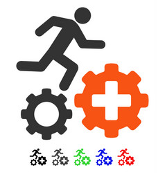 Runner treatment process gears flat icon vector