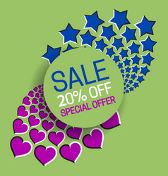 Sale 20 off special offer banner text in round vector
