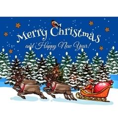 Santa riding on sleigh at Xmas night sketch design vector