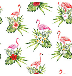 Seamless pattern pink flamingo with flowers and vector