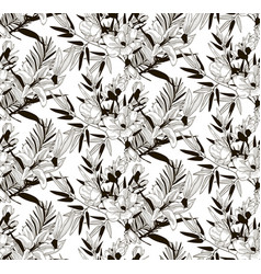 seamless pattern with drawn flowers and vector image