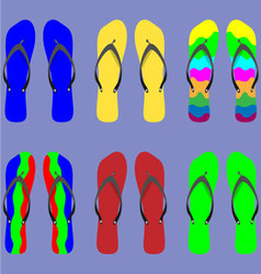 Set flip flops with different patterns vector image