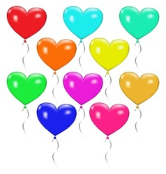 Set of colorful balloons in the form of heart vector image