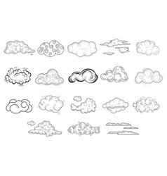 Set of comic hand drawn clouds of different shapes vector