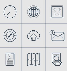 Set of Modern Thin Line Icons Time Global Compass vector