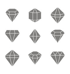 set of monochrome icons with jewels and diamonds vector image