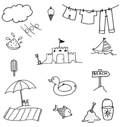 Set of picnic holiday doodle vector