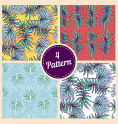 set of summer colorful hawaiian seamless pattern vector image