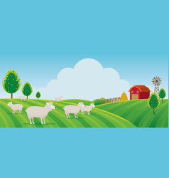 Sheep farm on hill landscape background vector