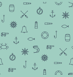 ship sea line icons seamless pattern on blue vector image