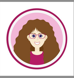 Smiling girl face with brown long hair and glasses vector