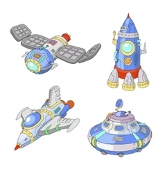 Spaceship and UFO cartoon set Rocket vector image