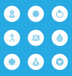 Spiritual icons line style set with drop fruit vector