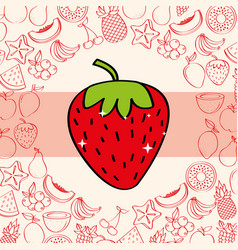 strawberry fruits nutrition background pattern vector image