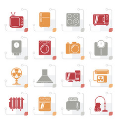 stylized home appliances and electronics icons vector image