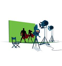 Superhero couple movie set vector