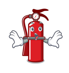 Surprised fire extinguisher mascot cartoon vector