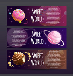 sweet planets banners set candy shop advertising vector image