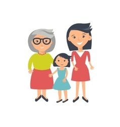 Three ages of women from child to senior vector