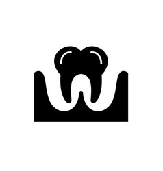 tooth black icon sign on isolated vector image