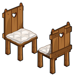 two wooden chairs with soft seats vector image