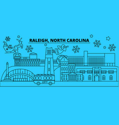 United states raleigh winter holidays skyline vector