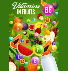 vitamins complex in natural organic fruits vector image