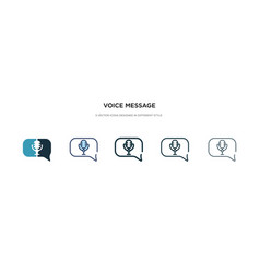 Voice message icon in different style two vector