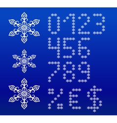 Winter white english alphabet with snowflakes vector image