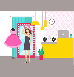 woman shopping in store shop choosing hat vector image