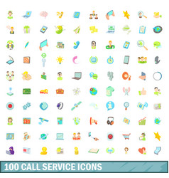 100 call service icons set cartoon style vector image vector image