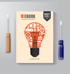 Cover Book Digital Design Template Technology vector image