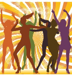 dancing girls with ray backgro vector image vector image