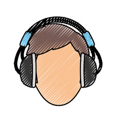 man with headphones vector image vector image