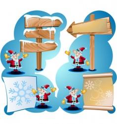 santa claus and road signs vector image vector image