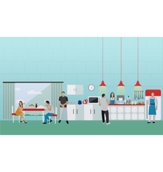 banner with kitchen interior People having vector image