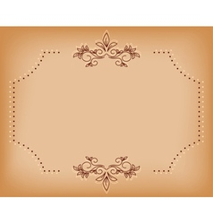 beige old card with brown tracery vector image vector image