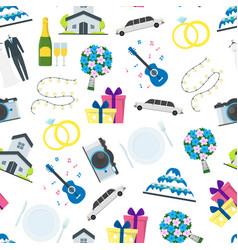 cartoon wedding seamless pattern background vector image vector image