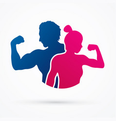 Fitness man and woman healthy human vector