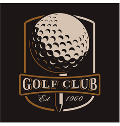 golf ball logo on dark background vector image