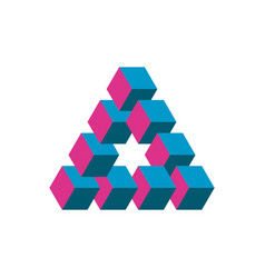 Impossible triangle in three different colors vector
