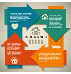 Insurance arrow circle layout template banner vector image